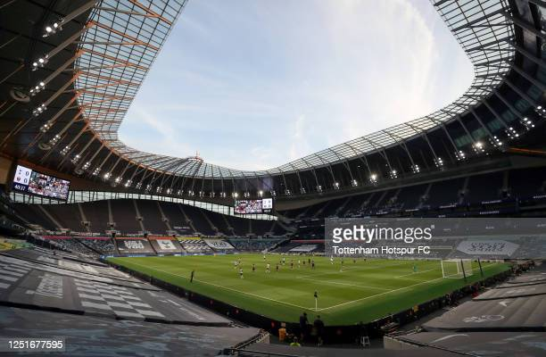 General view inside the stadium during the Premier League match between Tottenham Hotspur and West Ham United at Tottenham Hotspur Stadium on June...