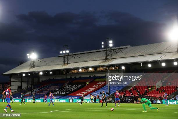 General view inside the stadium during the Premier League match between Crystal Palace and Burnley FC at Selhurst Park on June 29 2020 in London...
