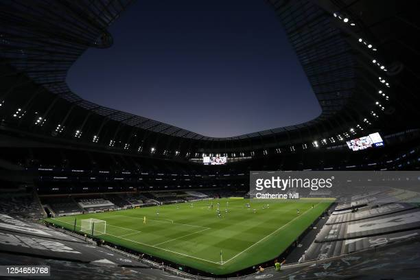General view inside the stadium during the Premier League match between Tottenham Hotspur and Everton FC at Tottenham Hotspur Stadium on July 06 2020...