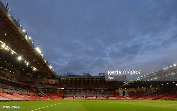 General view inside the stadium during the Premier League match between Manchester United and Southampton FC at Old Trafford on July 13, 2020 in...