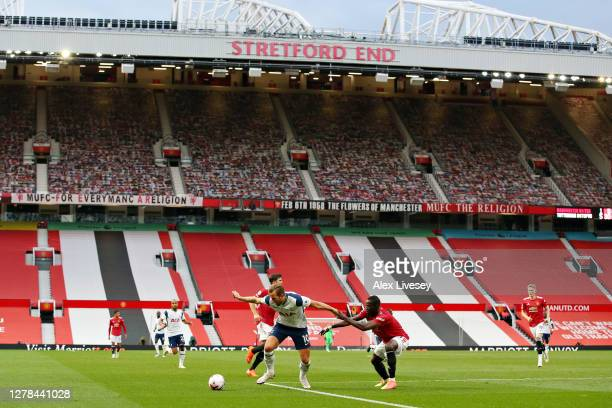 General view inside the stadium during the Premier League match between Manchester United and Tottenham Hotspur at Old Trafford on October 04, 2020...