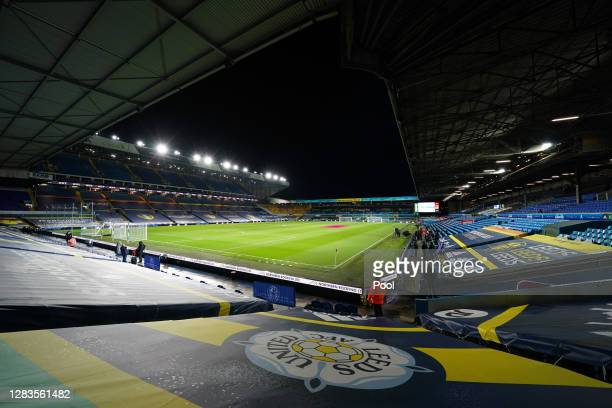 General view inside the stadium during the Premier League match between Leeds United and Leicester City at Elland Road on November 02, 2020 in Leeds,...