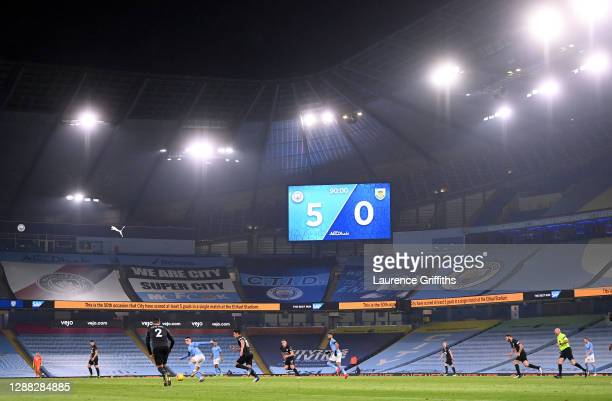 General view inside the stadium during the Premier League match between Manchester City and Burnley at Etihad Stadium on November 28 2020 in...