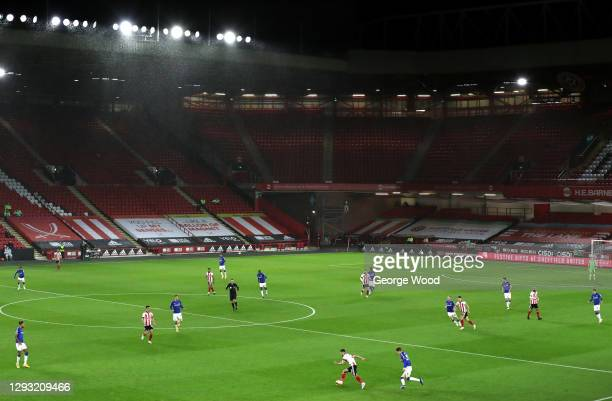 General view inside the stadium during the Premier League match between Sheffield United and Everton at Bramall Lane on December 26, 2020 in...