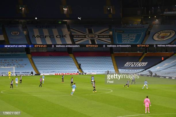 General view inside the stadium during the Premier League match between Manchester City and Newcastle United at Etihad Stadium on December 26, 2020...