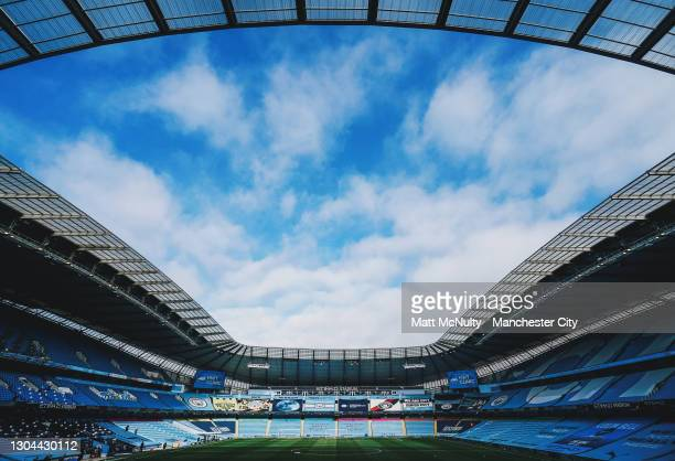 General view inside the stadium during the Premier League match between Manchester City and West Ham United at Etihad Stadium on February 27, 2021 in...