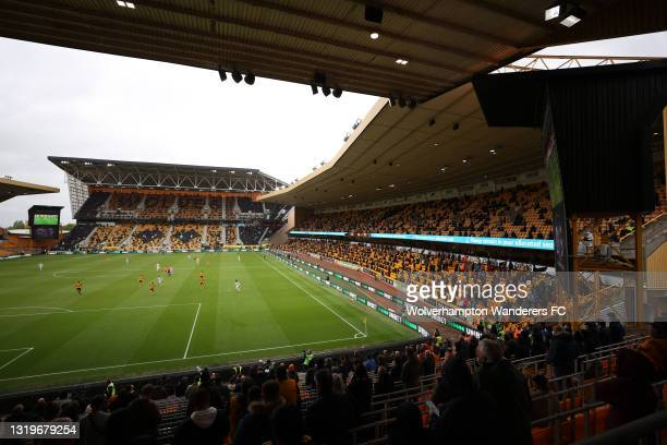 General view inside the stadium during the Premier League match between Wolverhampton Wanderers and Manchester United at Molineux on May 23, 2021 in...