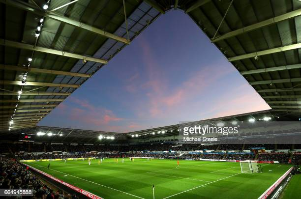 A general view inside the stadium during the Premier League match between Swansea City and Tottenham Hotspur at the Liberty Stadium on April 5 2017...