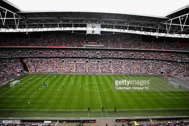 A general view inside the stadium during the Premier League match between Tottenham Hotspur and Chelsea at Wembley Stadium on August 20 2017 in...