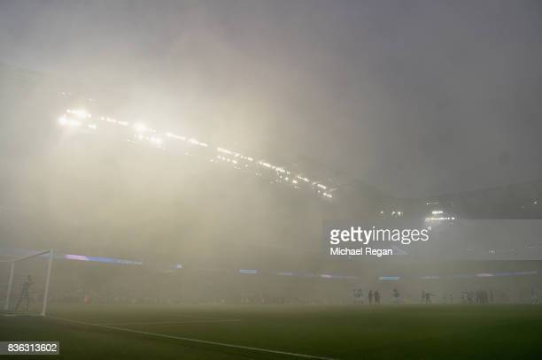 General view inside the stadium during the Premier League match between Manchester City and Everton at Etihad Stadium on August 21 2017 in Manchester...