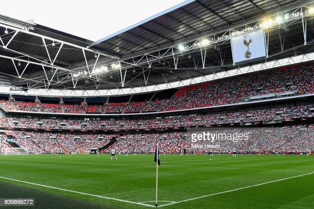 General view inside the stadium during the Premier League match between Tottenham Hotspur and Burnley at Wembley Stadium on August 27 2017 in London...