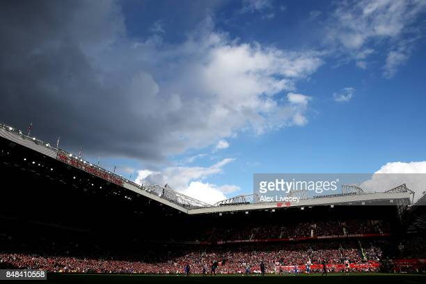 General view inside the stadium during the Premier League match between Manchester United and Everton at Old Trafford on September 17 2017 in...