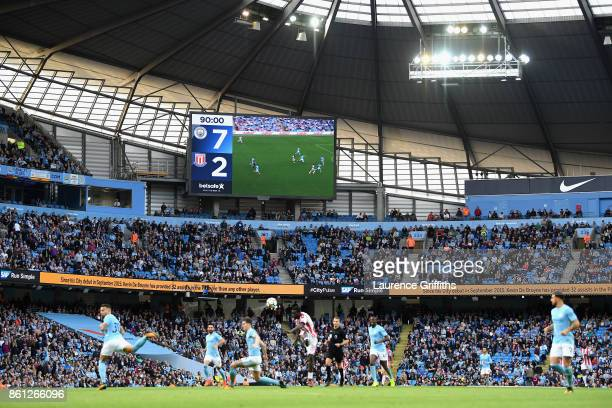 General view inside the stadium during the Premier League match between Manchester City and Stoke City at Etihad Stadium on October 14 2017 in...