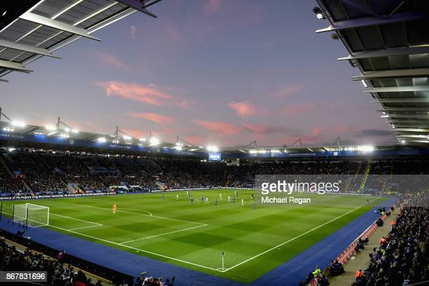 A general view inside the stadium during the Premier League match between Leicester City and Everton at The King Power Stadium on October 29 2017 in...