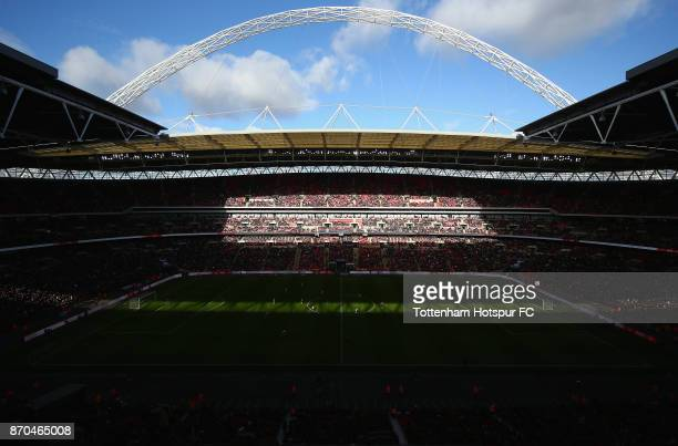 General view inside the stadium during the Premier League match between Tottenham Hotspur and Crystal Palace at Wembley Stadium on November 5 2017 in...
