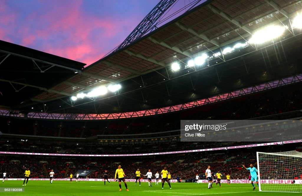 General view inside the stadium during the Premier League match between Tottenham Hotspur and Watford at Wembley Stadium on April 30, 2018 in London, England.