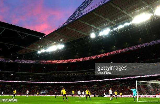 General view inside the stadium during the Premier League match between Tottenham Hotspur and Watford at Wembley Stadium on April 30, 2018 in London,...