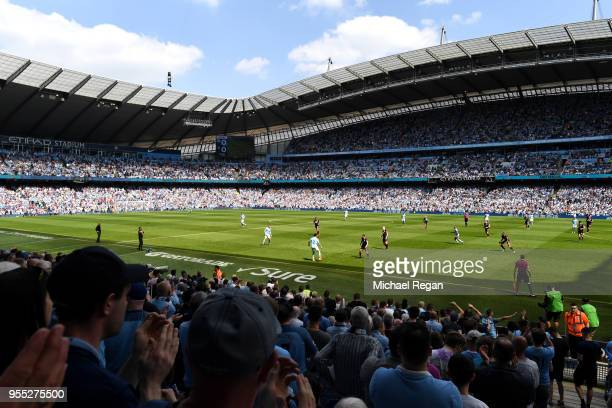 General view inside the stadium during the Premier League match between Manchester City and Huddersfield Town at Etihad Stadium on May 6 2018 in...