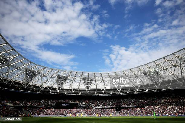 General view inside the stadium during the Premier League match between West Ham United and Chelsea FC at London Stadium on September 23 2018 in...