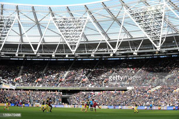 General view inside the stadium during the Premier League match between West Ham United and Southampton FC at London Stadium on February 29, 2020 in...