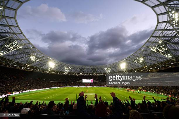 General view inside the stadium during the Premier League match between West Ham United and Stoke City at Olympic Stadium on November 5, 2016 in...