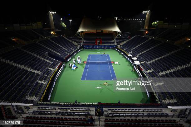 General view inside the stadium during the Quarter-Final singles match between Andrey Rublev of Russia and Marton Fucsovics of Hungary during Day...