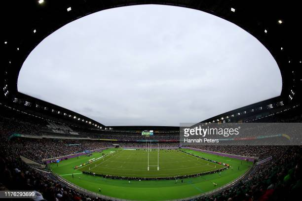 General view inside the stadium during the Rugby World Cup 2019 Group A game between Ireland and Scotland at International Stadium Yokohama on...