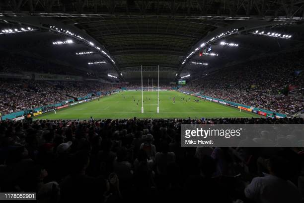 General view inside the stadium during the Rugby World Cup 2019 Group A game between Scotland and Samoa at Kobe Misaki Stadium on September 30, 2019...