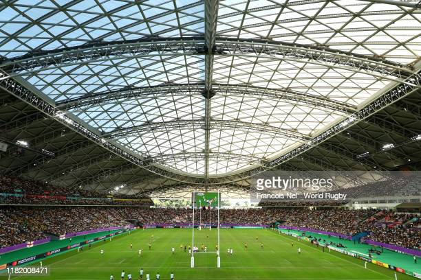 General view inside the stadium during the Rugby World Cup 2019 Quarter Final match between England and Australia at Oita Stadium on October 19, 2019...