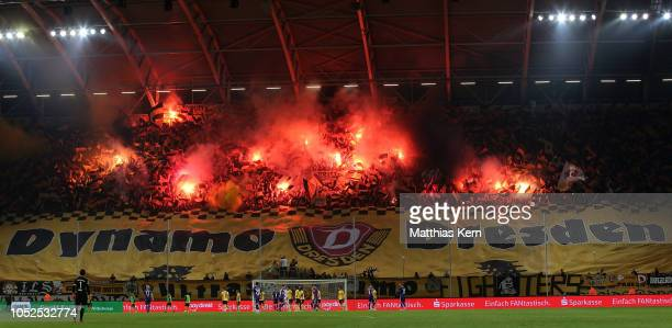 General view inside the stadium during the Second Bundesliga match between SG Dynamo Dresden and FC Erzgebirge Aue at Rudolf Harbig Stadion on...