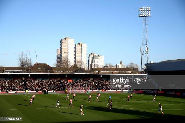 General view inside the stadium during the Sky Bet Championship match between Brentford and Middlesbrough at Griffin Park on February 08 2020 in...