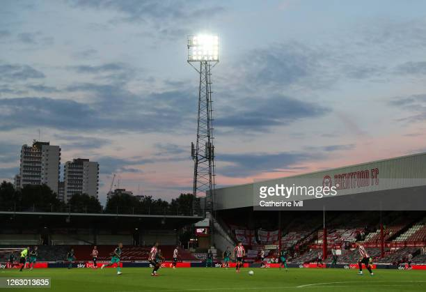 General view inside the stadium during the Sky Bet Championship Play Off Semifinal 2nd Leg match between Brentford and Swansea City at Griffin Park...