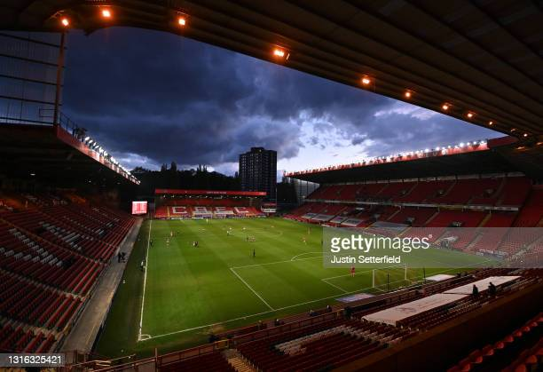 General view inside the stadium during the Sky Bet League One match between Charlton Athletic and Lincoln City at The Valley on May 04, 2021 in...