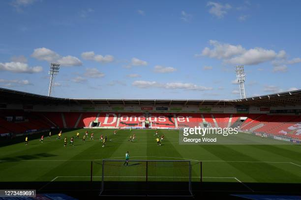 A general view inside the stadium during the Sky Bet League Two match between Harrogate Town and Walsall at The Keepmoat Stadium on September 19 2020...