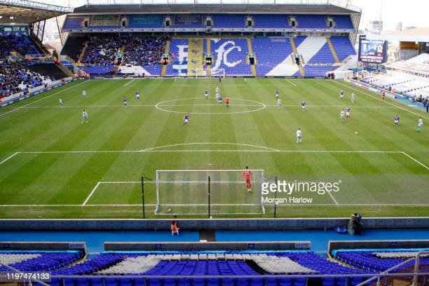 General view inside the stadium during the start of the second half of the FA Cup Third Round match between Birmingham City and Blackburn Rovers at...