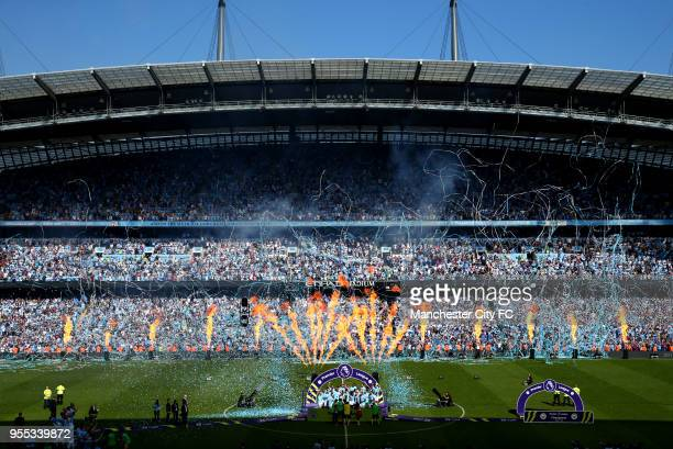 General view inside the stadium during the trophy presentation after the Premier League match between Manchester City and Huddersfield Town at Etihad...
