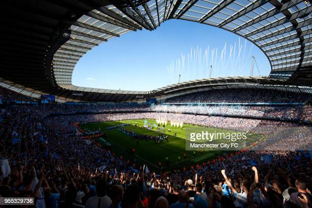 General view inside the stadium during the Trophy presentation during the Premier League match between Manchester City and Huddersfield Town at...