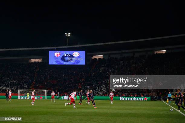 General view inside the stadium during the UEFA Champions League group B match between Crvena Zvezda and Bayern Muenchen at Rajko Mitic Stadium on...