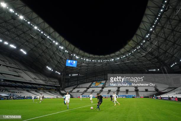 General view inside the stadium during the UEFA Champions League Group C stage match between Olympique de Marseille and Manchester City at Stade...
