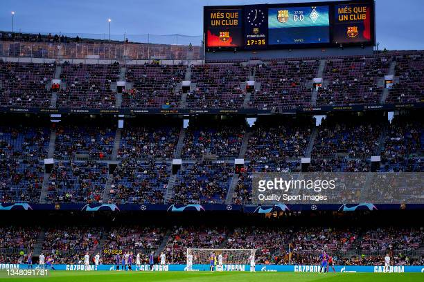 General view inside the stadium during the UEFA Champions League group E match between FC Barcelona and Dinamo Kiev at Camp Nou on October 20, 2021...