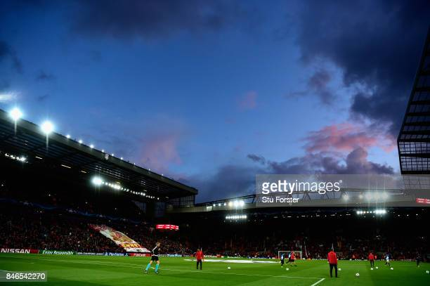 General view inside the stadium during the UEFA Champions League group E match between Liverpool FC and Sevilla FC at Anfield on September 13 2017 in...
