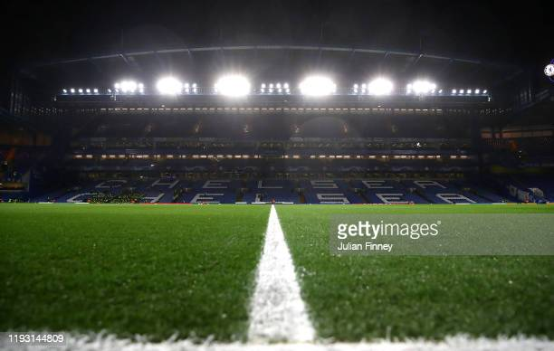 General view inside the stadium during the UEFA Champions League group H match between Chelsea FC and Lille OSC at Stamford Bridge on December 10...