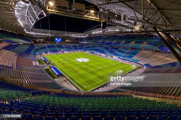 General view inside the stadium during the UEFA Champions League Group H stage match between RB Leipzig and Paris Saint-Germain at Red Bull Arena on...