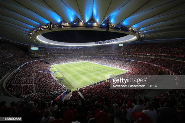 General view inside the stadium during the UEFA Champions League Final between Tottenham Hotspur and Liverpool at Estadio Wanda Metropolitano on June...