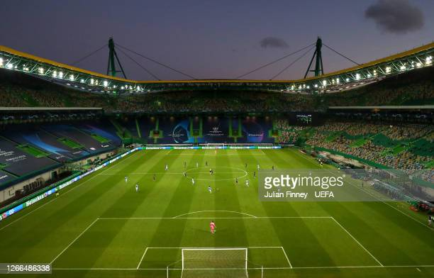 General view inside the stadium during the UEFA Champions League Quarter Final match between Manchester City and Lyon at Estadio Jose Alvalade on...