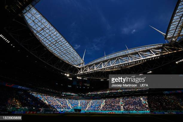 General view inside the stadium during the UEFA Euro 2020 Championship Group B match between Finland and Russia at Saint Petersburg Stadium on June...