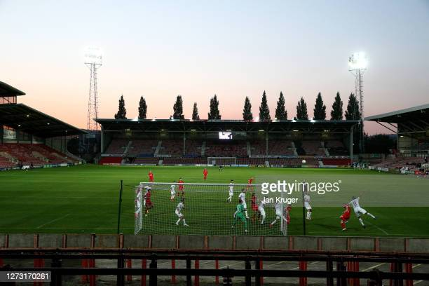 A general view inside the stadium during the UEFA Europa League second qualifying round match between Connahs Quay Nomads and Dinamo Tbilisi at...