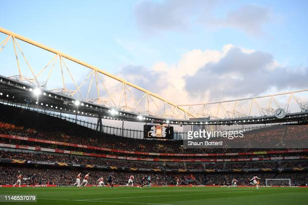General view inside the stadium during the UEFA Europa League Semi Final First Leg match between Arsenal and Valencia at Emirates Stadium on May 02...