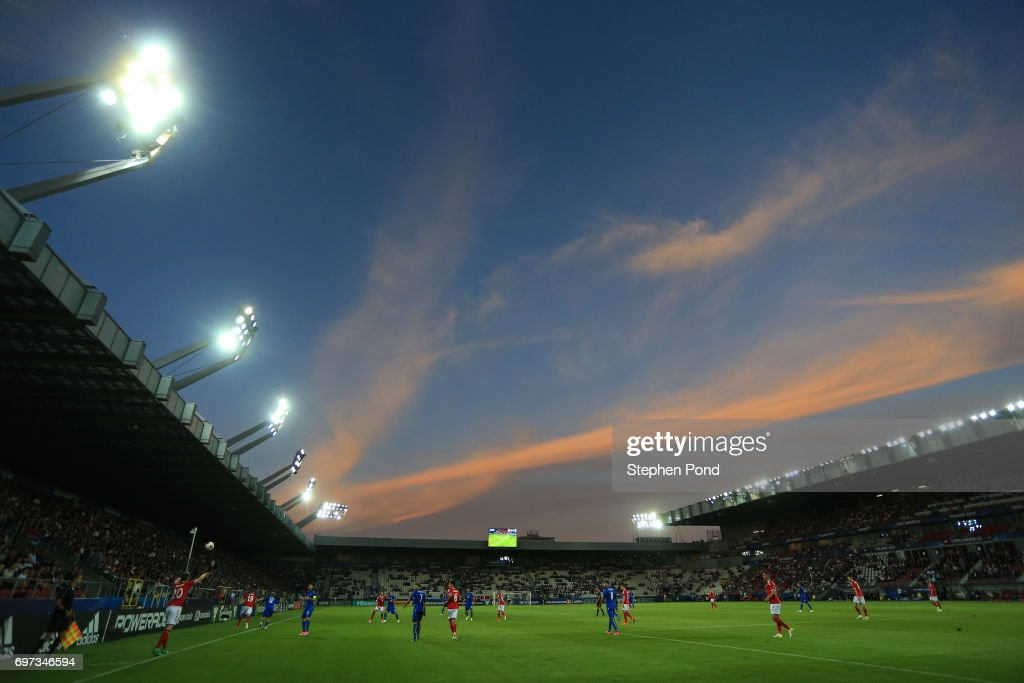 General view inside the stadium during the UEFA European Under-21 Championship Group C match between Denmark and Italy at Krakow Stadium on June 18, 2017 in Krakow, Poland.