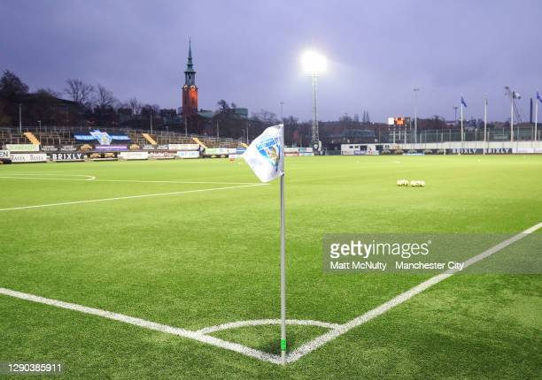General view inside the stadium during the UEFA Women's Champions League Round of 32 First Leg at Valhalla IP Stadium on December 09, 2020 in...